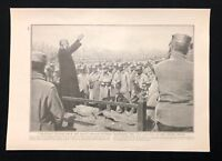 WW1 1914 Book Plate / Print, French Soldiers Render Last Honours to Fallen Brave
