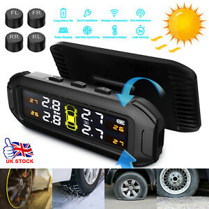 4 Solar Sensors Wireles TPMS Realtime Car Tire Tyre Pressure Monitoring System~