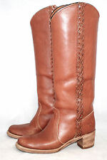 FRYE 8549 Wo's 7B Brown Braided Leather Campus Equestrian Riding Boots