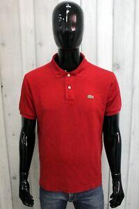 LACOSTE Uomo Taglia 5 / L Polo T-shirt Maglia Rosso Maglietta Manica Corta Logo