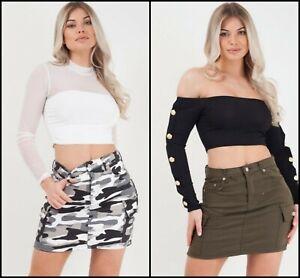 New Women's Plain / Camouflage Cargo Combat Style Mini Denim Y2K Army Skirt