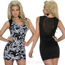 Black & White PAISLEY Sparkle SEQUIN Mini BODYCON Dress MESH Keyhole BACK 8-10