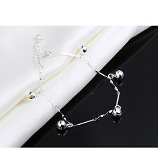 Fashion Women 925 Sterling Silver Chain Bangle Cuff Bell Charm Bracelet