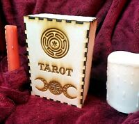 LARGE Tarot Card Box | Wooden Card Holder w/ Wiccan Triple Moon & Tree of Life