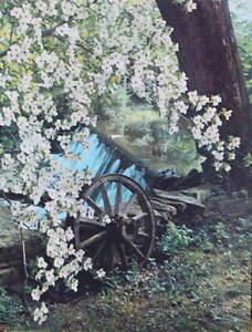 Vintage 1950s print Wagon Wheel ,Creek, Dogwood Blossoms