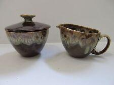 Canonsburg Pottery BROWN DRIP SUGAR BOWL AND CREAMER  Carefree Ironstone