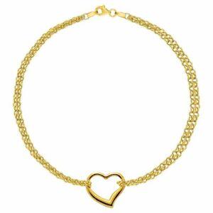 10K Oro Amarillo Doble Hilos con Corazón Tobillera, 25.4cm