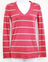 Womens Red and Gray Stripe Long Sleeve V Neck Top Size XS
