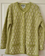 Aran Crafts Women's L Irish Fisherman 100% Wool Cardigan Sweater Lime