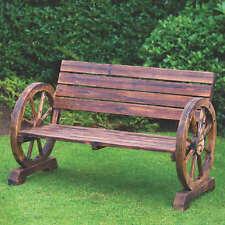 Élégant Jardin brûlé en Bois Wagon Wheel 2 places banc de haute qualité NEUF