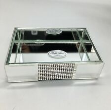 Bella Lux Mirror Rhinestone Crystal Soap Dish Bathroom Vanity Tray Accessory NEW