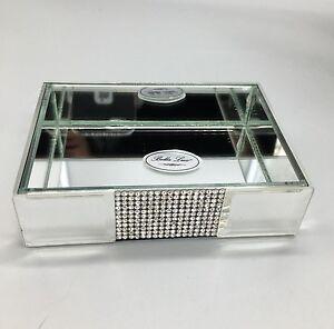 Bella Lux Mirror Rhinestone Crystal Soap Dish Bathroom Vanity Tray Accessory NEW