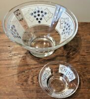 MID CENTURY VTG 60'S ANCHOR HOCKING GOLDEN GRAPES GLASS CHIP & DIP BOWLS NO CLP