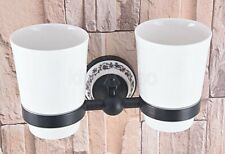 Oil Rubbed Bronze Wall Mounted Bathroom Toothbrush Holder &Ceramic,Double cup