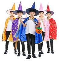 Kids Children Halloween Wizard Witch Cloak Cape Robe+Hat Cap Set Party Costume L