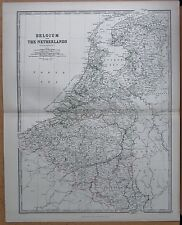 1874  LARGE ANTIQUE MAP - JOHNSTON- BELGIUM AND THE NETHERLANDS