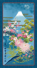 "MT FUJI: Asian Japanese Fabric Panel in Blue - 24"" x 44"""