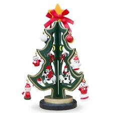 Wooden Tabletop Christmas Tree with Santa and Miniature Ornaments 6.5 Inches