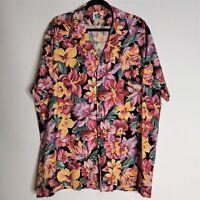 Hilo Hattie Mens Vtg Floral Hibiscus Aloha Button Up Short Sleeve Shirt Top 2XL