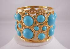 Kenneth Jay Lane Gold Turquoise Cabochon Hinge Cuff Bangle Bracelet