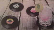 4 Vinyl Coasters Retro 45RPM Record Cup Drinks Holder Mat Tableware Placemat Set