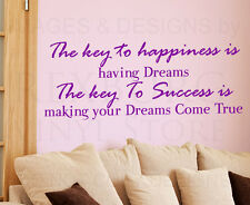 Wall Sticker Decal Quote Vinyl Art Lettering The Key to Being Happy Success IN70
