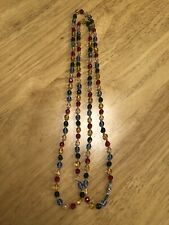 Faceted Bead Necklace With Fasten. Vintage Art Deco Long Multi-coloured Glass