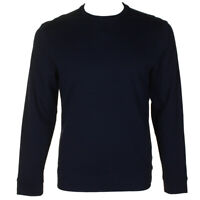 Tasso Elba Mens Navy Long Sleeve Double Knit Crew Neck Sweatshirt S