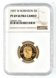1997 W Jackie Robinson $5 Gold NGC PF 69 Ultra Cameo Coin US Mint