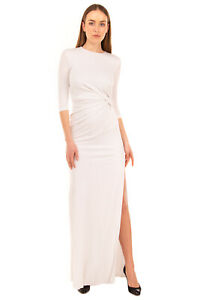 RRP €960 GIVENCHY Crepe Column Dress Size 38 / S White High Slit Made in Italy