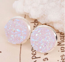 SILVER SPARKLING DRUZY RESIN LILAC/PINK ROUND STUD EARRINGS 12MM