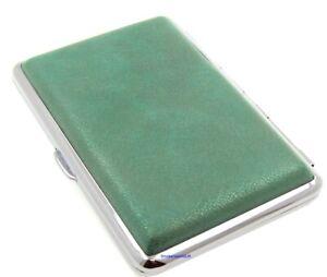 Cigarette Case - Mysmokingshop Green Marble Leather Chrome King Size - NEW ksc4