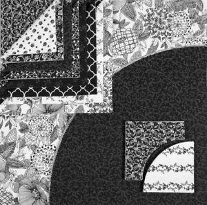 Drunkards Path Pre-Cut Kit - Black and White