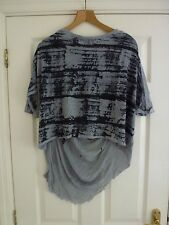 RAQUEL ALLEGRA Ladies Grey Cotton-Mix Top With Long Shredded Back Size 1 (UK 8)