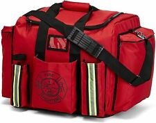 LINE2design Firefighter XXL Turnout Gear Bag with Yellow Reflective Trim - Red