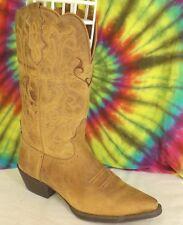 8 B ladies dark tan/light brown leather JUSTIN L2561 Mcayla cowboy boots (9 B)
