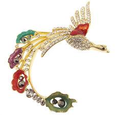 "Bird Brooch Pin Clear Crystals 14k GP Multicolor Enamel Jewelry 3.35"" Fashion"