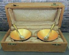 Vintage Ela Denmark Sterling Silver Golden Yellow Enamel Salt Cellar Set in Box