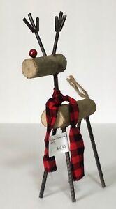 """New 9.5"""" Standing Log Christmas Deer Reindeer Figurine Holiday Metal Legs Decor"""