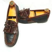 Johnston & Murphy Black Brown Moc Toe Leather Tassel Kiltie Loafers Shoes 11.5 M