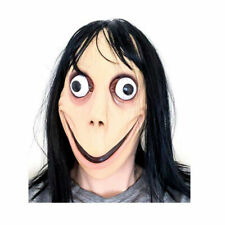 Momo Mask Games Latex Scary With Long Hair Adult Halloween Costume Party Props