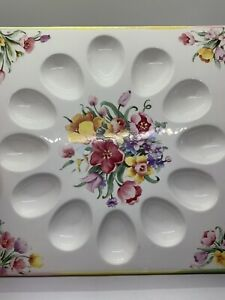 """Papel Giftware Deviled Egg Plate/Tray Square Easter Spring Floral 10.5""""EXC.Cond."""