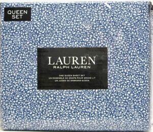 Ralph Lauren 4 PC Cotton Sheet Set Watercolor Foral Vine Blue White Queen - NEW