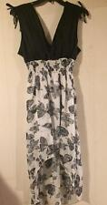 NEW~Junior X-Large~Hi Low~Deep V Neck~Flowing~Black and White Print~PADDED Dress