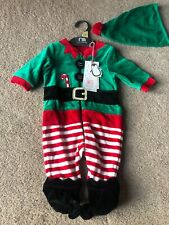 Mothercare Velour Baby Christmas Elf Outfit Dress Up To 1 Month
