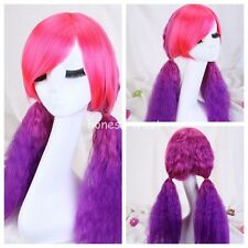Women's Long Curly Wavy Pink Purple Rainbow Lolita Hair Cosplay Halloween Wig