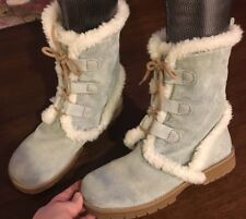 GAP Rare Women's Light Blue Winter Faux Fur Fashion Snowboots 6 Super Cute 168