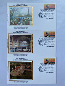 Set Of 5 1986 Ellis Island Colorano Silk Cachet Statue of Liberty ASDA Cover