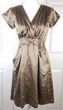 ANTHROPOLOGIE DOLAN womens sz S taupe shiny silk short sleeve vneck sheath dress