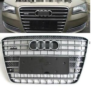 For Audi A8 D4 W12 Front Grille Upper Chrome black Honeycomb Radiator Grill
